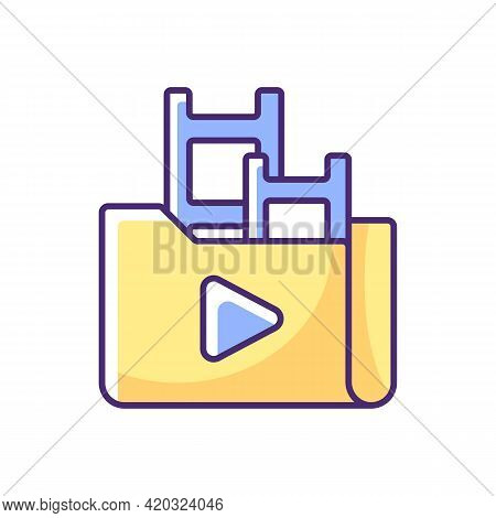 Streaming Service Library Rgb Color Icon. Films And Television Shows Collection. Offering Movies And