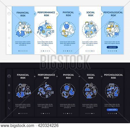Buying Risk Aspects Onboarding Vector Template. Responsive Mobile Website With Icons. Web Page Walkt