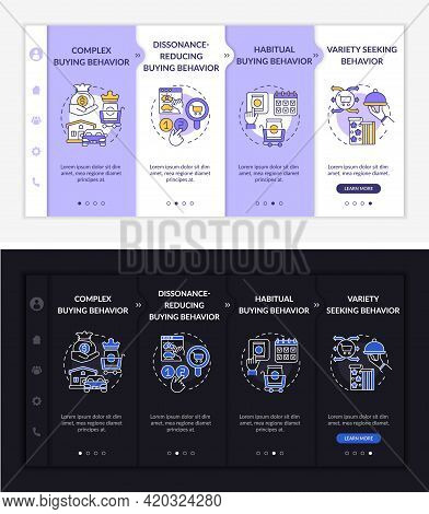 Shopper Behavior Types Onboarding Vector Template. Responsive Mobile Website With Icons. Web Page Wa