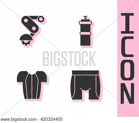 Set Cycling Shorts, Derailleur Bicycle Rear, T-shirt And Sport Bottle With Water Icon. Vector