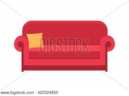 Red Sofa Isolated On White. Sofa Icon For Interior House.