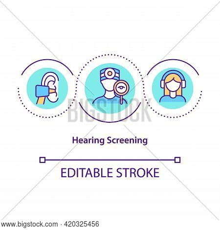 Hearing Screening Concept Icon. Audiometry Evaluation Idea Thin Line Illustration. Hearing Different