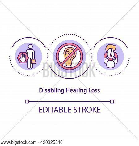 Disabling Hearing Loss Concept Icon. Hearing Impairment Idea Thin Line Illustration. Trauma To Ear.