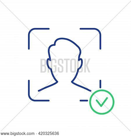 Face Recognition And Identification Line Icon. Face Id Line Icon. Facial Scan And Identification. Fa