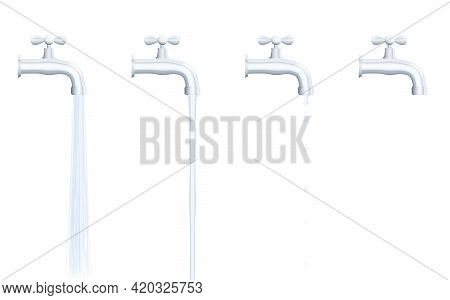 Faucet Set - Strong And Normal Water Jet, Dripping And Turned Off Tab. Isolated Vector Illustration