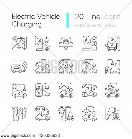 Electric Vehicle Charging Linear Icons Set. Portable Charging Station For Elctromobile. Eco Cars. Cu