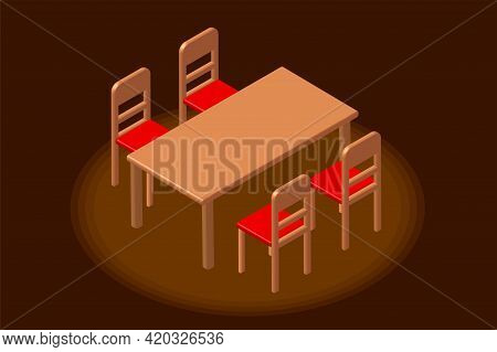 Isometric Dining Room. Isometric Dining Table And Red Chair In Dark Brown Room. 3d Rendering.