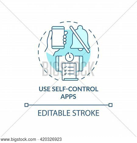 Use Self Control Apps Blue Concept Icon. Increase Productivity At Work. Task Efficiency. Self Contro