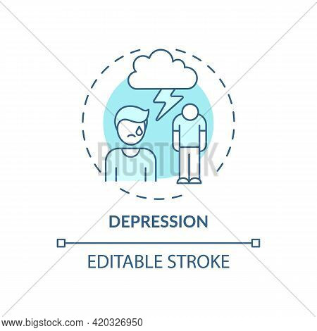 Depression Blue Concept Icon. Anxiety Disorder. Stress Management Issues. Burnout Symptom. Mental He