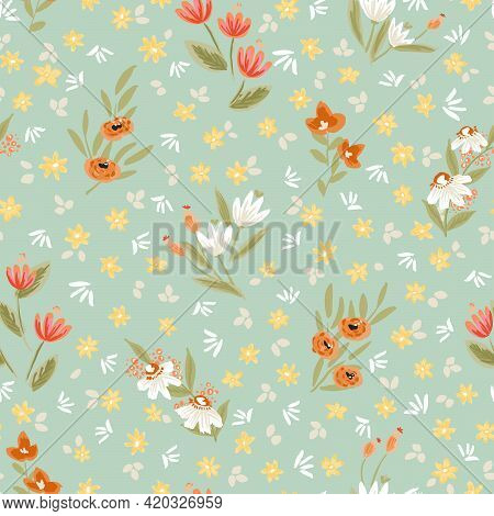 Sweet Posy Floral Seamless Vector Pattern. Different Flower Stems Surrounded By Cute Small Flowers I