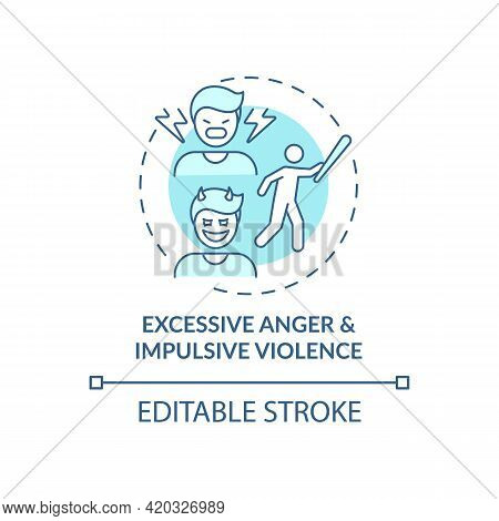 Excessive Anger And Impulsive Violence Blue Concept Icon. Mental Health Issue. Self Control Problem