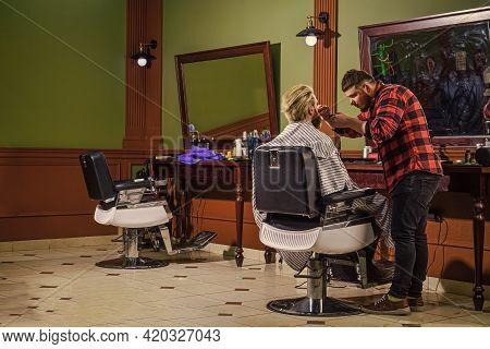 Perfect Style. Portrait Of Stylish Man Beard. Shaving. Hairstylist In Barbershop. Man In Hair Salon