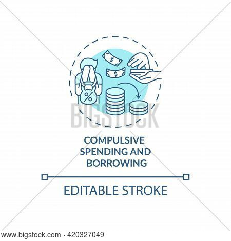 Compulsive Spending And Borrowing Blue Concept Icon. Buying Disorder, Shopaholism. Self Control Prob