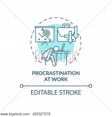 Procrastination At Work Blue Concept Icon. Burnout Symptom. Overworked Manager At Workplace. Self Co