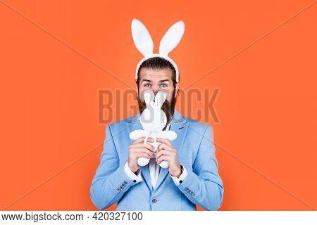 Last Preparations. Brutal Man Having Fun. Mature Male Wear Rabbit Ears. Easter Bunny Man. Happy East
