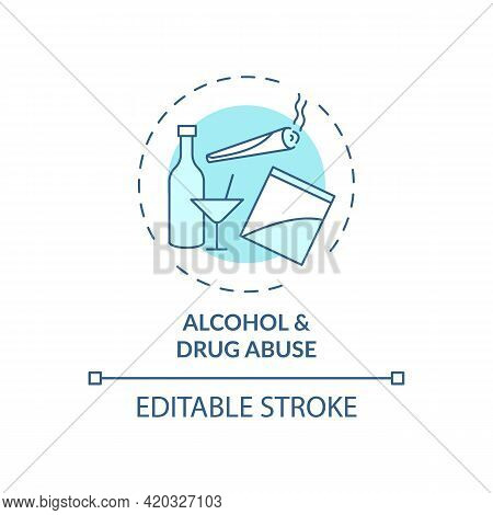 Alcohol And Drug Abuse Blue Concept Icon. Unhealthy Substance Dependence. Smoking Habit. Self Contro