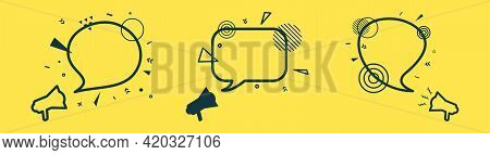 Set Of Three Speech Bubbles And Loudspeakers With Abstract Geometric Shapes. Outline Megaphone Stick
