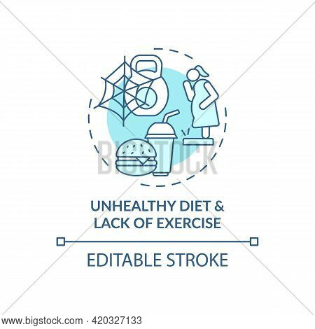 Unhealthy Diet And Lack Of Exercise Blue Concept Icon. Issue With Personal Regulation. Self Control