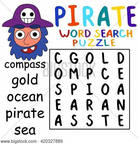 Pirate Word Search Puzzle Colorful Activity Page With Five Hidden Words For Kids Stock Vector Illust