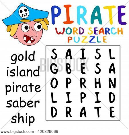 Simple Pirate Word Search Puzzle For Kids Stock Vector Illustration. Funny Educational Word Game In