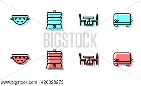 Set Line Wooden Table With Chair, Kitchen Colander, Slow Cooker And Toaster Icon. Vector