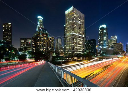 Los Angeles city traffic at night