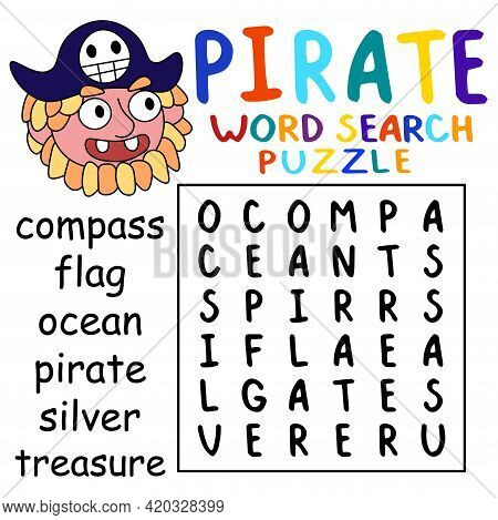 Cartoon Hand-drawn Pirate Word Search Puzzle Stock Vector Illustration. Help Pirate Captain To Find