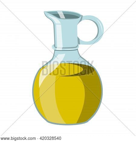 Vegetable Oil In A Glass Jar, Olive Or Sunflower Oil. Vector Isolated On A White Background