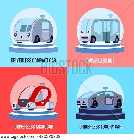 Autonomous Driverless Vehicles 4 Colorful Background Icons Square With Compact Luxurious Car And Bus