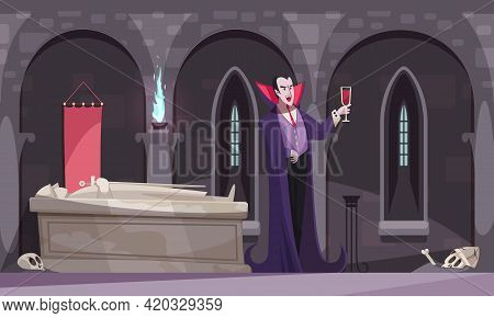 Vampire In Purple Cloak Drinking Blood From Wineglass In Burial Vault With Tomb Skeletons Flat Vecto