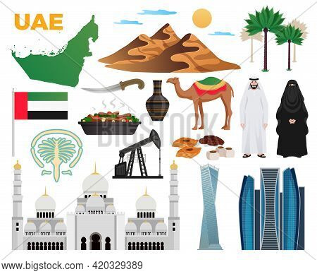 Uae Travel Flat Icons Collection With Landmarks National Flag Clothing Cuisine Mountains Modern Arch