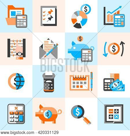Accounting Money Finance Banking Budget Investment Icons Set Isolated Vector Illustration.