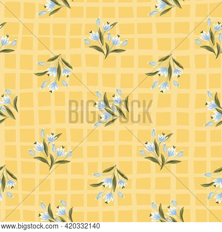 Mellow Fall Floral Seamless Vector Pattern. Floral Plant With Flowers And Cute Buds In Blue, White A