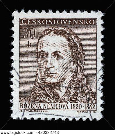 ZAGREB, CROATIA - SEPTEMBER 18, 2014: Stamp printed in Czechoslovakia shows a portrait of Bozena Nemcova (1820-1862), Anniversary cultural figures series, circa 1962