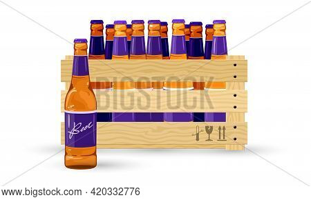 Cartoon Alcoholic Beverage Pack For Transportation. Vector Delivery To Alcoholic Beverages Store. Al