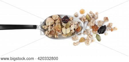 Spoon With Granola On White Background, Top View. Healthy Snack