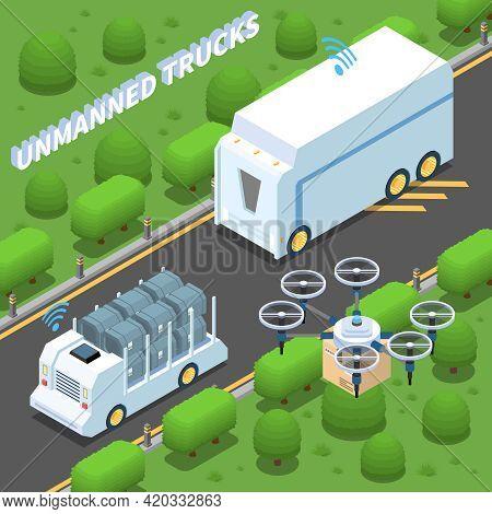 Autonomous Car Driverless Vehicle Robotic Transport Isometric Composition With View Of Suburban Moto