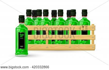 Cartoon Drink For Party, Bar Or Pub Fun. Vector Package Of Beverage For Alcoholic Shop Selling, Gree