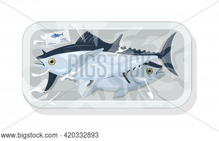 Cartoon Of Premium Quality Fresh Tuna Fish Packed In Tray. Vector Seafood Transportation, Iced Food,