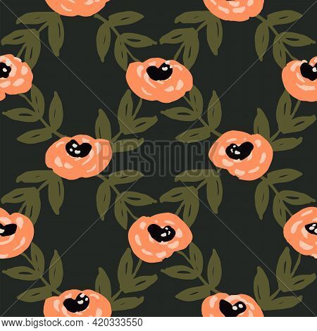 Flower Net Seamless Vector Pattern. Flowers And Leaves Of Cute Round Roses Forming A Diamond Net Geo