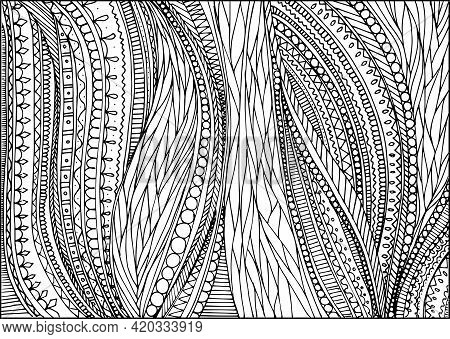 Doodle Surreal Fantasy Weaves Coloring Page For Adults. Fantastic Graphic Artwork. Hand Drawn Simple
