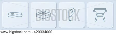 Set Line Steak Meat, Rib Eye Steak, And Barbecue Grill. White Square Button. Vector