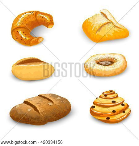 Bakery Bread And Pastry Set With Donut Chocolate Bagel And Croissant Isolated Vector Illustration