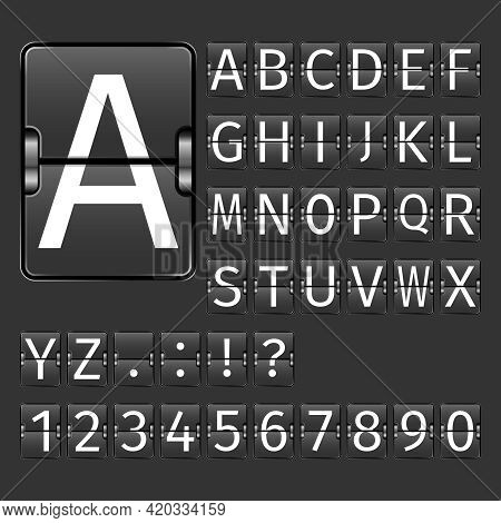 Alphabet Letters And Numbers On Black Arrival Departure Airport Board Vector Illustration