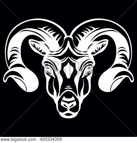 Mascot. Head Of Ram. Vector Illustration White Color Front View Of Wild Animal Isolated On Black Bac
