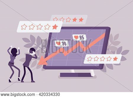 Negative Online Reputation Management, Falling Down Arrow Graph. Giant Screen With Bad E-reputation