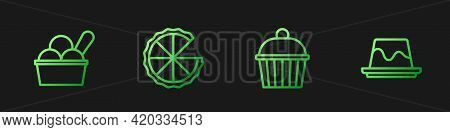 Set Line Cake, Ice Cream In Bowl, Homemade Pie And Pudding Custard. Gradient Color Icons. Vector