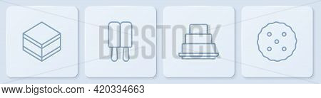 Set Line Brownie Chocolate Cake, Cake, Ice Cream And Cookie Or Biscuit. White Square Button. Vector