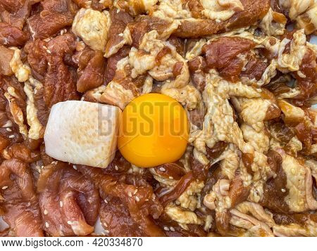 Streaky Pork With Fresh Egg Place On Marinated Pork And Chicken Prepare For Thai Barbecue Grill Pork