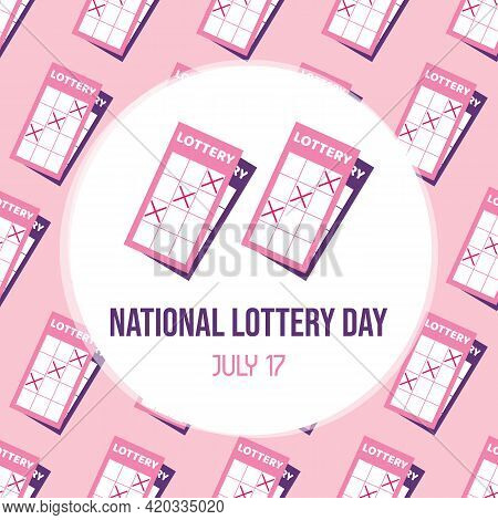 National Lottery Day Greeting Card With Cute Cartoon Style Lottery Tickets And Seamless Pattern Back